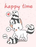 Gigantyczny kot i małe pandy ilustracji