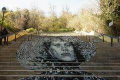 Gigantyczny malowidło ścienne na jawnym schody Zdjęcia Royalty Free