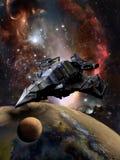 Gigantyczny statek kosmiczny i planeta Obrazy Royalty Free