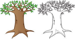Gigantyczny tajemniczy drzewo w kolorze i czarnej białej wersi, ilustracja wektor