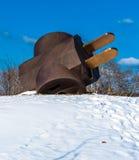 Gigantyczny trójstronny Czopuje wewnątrz śnieg, przy Filadelfia muzeum obrazy royalty free