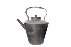 Gigantyczny wieśniak obsady żelaza czajnik, odizolowywający na bielu Zdjęcia Royalty Free