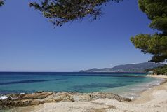 Gigaro-Strand nahe dem Stadt La Croix Volmer, Cote d'Azur, Provence, Süd-Frankreich Stockbilder