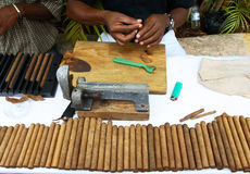 Gigars. Making cigars like traditional technology Royalty Free Stock Photos