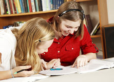 Giggling School Girls. Teen girls in school library laughing as they do their homework Royalty Free Stock Photos