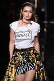 Gigi Hadid walks the runway at the Versace Pre-Fall 2019 Collection. NEW YORK, NEW YORK - DECEMBER 02: Gigi Hadid walks the runway at the Versace Pre-Fall 2019 royalty free stock photography