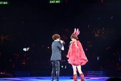 Gigi Leung performs on stage with Sammi Cheng Royalty Free Stock Photos