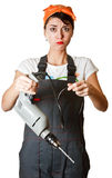 Gigl with drill asking for help Royalty Free Stock Images