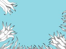 Gigli bianchi su fondo blu Immagini Stock