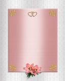Gigli del raso di colore rosa dell'invito di cerimonia nuziale Fotografia Stock