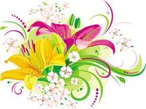 Gigli e piccoli fiori Fotografia Stock