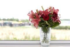 Gigli rossi e rosa in un vaso a cristallo Immagine Stock Libera da Diritti