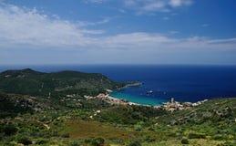 Giglio和基度山海岛山景城,托斯卡纳,意大利 库存图片