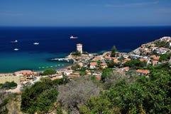 Giglio Campese口岸, Giglio海岛,意大利 免版税图库摄影
