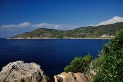 Giglio Campese海湾, Giglio海岛,意大利 免版税库存照片
