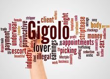 Gigolo word cloud and hand with marker concept. On white background royalty free stock images