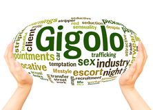 Gigolo word cloud hand sphere concept. On white background stock image