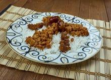 Azerbaijan pilaf. Giimya chykhyrtma plov - Azerbaijan pilaf with ground meat and dried fruits Royalty Free Stock Images