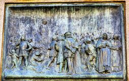 Giiordano Bruno Execution Statue Campo de& x27; Fiori Rome Italy. Bruno was heretic burned at stake in Campo de& x27; Fiori.  Statue by Ferrari in 1889 Stock Image