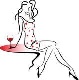 Giirl avec une glace de vin. Illustration Libre de Droits