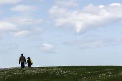 Gijón, Asturias, España, el 9 de abril de 2019, pares mayores que caminan a lo largo feliz de hablar en parque con un cielo azul fotografía de archivo libre de regalías