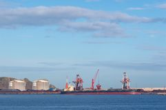 Coal cargo ship moored in port with lifting cargo cranes, ships and grain royalty free stock images