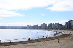 Gijon海滩在西班牙 库存照片