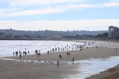 Gijon海滩在西班牙 免版税图库摄影