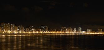 Gijon νύχτα. Στοκ Φωτογραφία