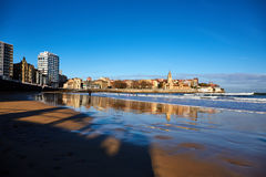 Gijon beach. Landscape of Gijon beach. travel destination in north of Spain, Europe Royalty Free Stock Image