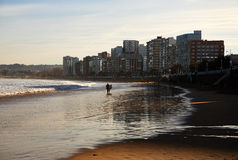 Gijon beach. Landscape of Gijon beach. travel destination in north of Spain, Europe Royalty Free Stock Photography