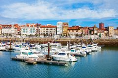 Gijon city marina in Asturias, Spain. Gijon marina with yachts. Gijon is the largest city of Asturias in Spain royalty free stock images