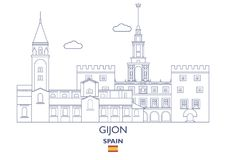 Gijon City Skyline, Spain Royalty Free Stock Photo