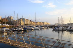 Gijon marina in North Spain Royalty Free Stock Images