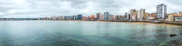 Gijon panorama, Asturias region, Spanien Royaltyfri Foto