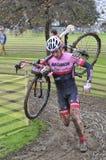 GIJON SPANIEN - JANUARI 11: Cyclocross mästerskap Spanien i Januari Fotografering för Bildbyråer