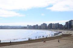 Gijon strand i Spanien Arkivfoton