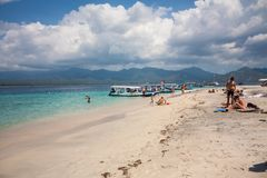 Gil powietrze, Indonezja, Sierpień 2016: Plaża na Gil powietrzu fotografia royalty free