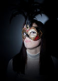 Gil wearing venetian masked, spotlight Royalty Free Stock Photo