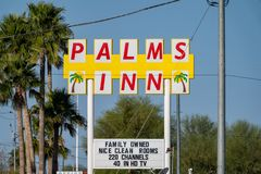 The Palms Inn motel, a family owned establishment for travelers on US-8. The hotel has a. Gila Bend, Arizona - The Palms Inn motel, a family owned establishment royalty free stock photo
