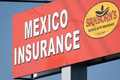 Sign for Sanborns Mexico Auto Insurance. American tourists driving to Mexico are encourged to. Purchase Mexican insurance when crossing the border royalty free stock photos