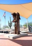 Gila Bend Arizona: 9/11 minnesmärke med WTC-artefacten Royaltyfri Foto