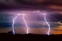 Gila Bend Mountain Lightning photos stock