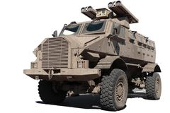GILA bullet-proof armoured personnel carrier. The GILA bullet-proof armoured personnel carrier, fitted here with four rocket launchers, has permanent four-wheel royalty free stock image