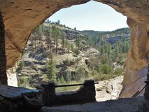 Gila Cliff Dwellings National Monument. A view of the Gila Wilderness from cliff dwellings that were built over 700 years ago by the ancestors of Puebloan Royalty Free Stock Photography