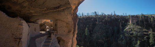 Gila Cliff Dwellings View Panorama Royalty Free Stock Photos