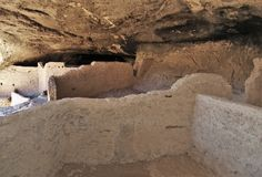Gila Cliff Dwellings. The Gila Cliff Dwellings were built over 700 years ago by ancestors of the Puebloan Indians in southern New Mexico near Silver City Stock Images