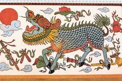 Gilan väggmålning av den Bhuttasothorn templet Arkivfoto