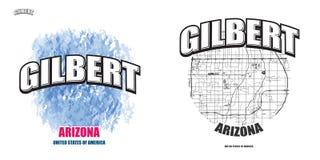 Gilbert, Arizona, dos ilustraciones del logotipo stock de ilustración