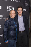 Gilbert Gottfried et Stephen Colbert à la première au festival 2016 de film de Montclair Photo stock